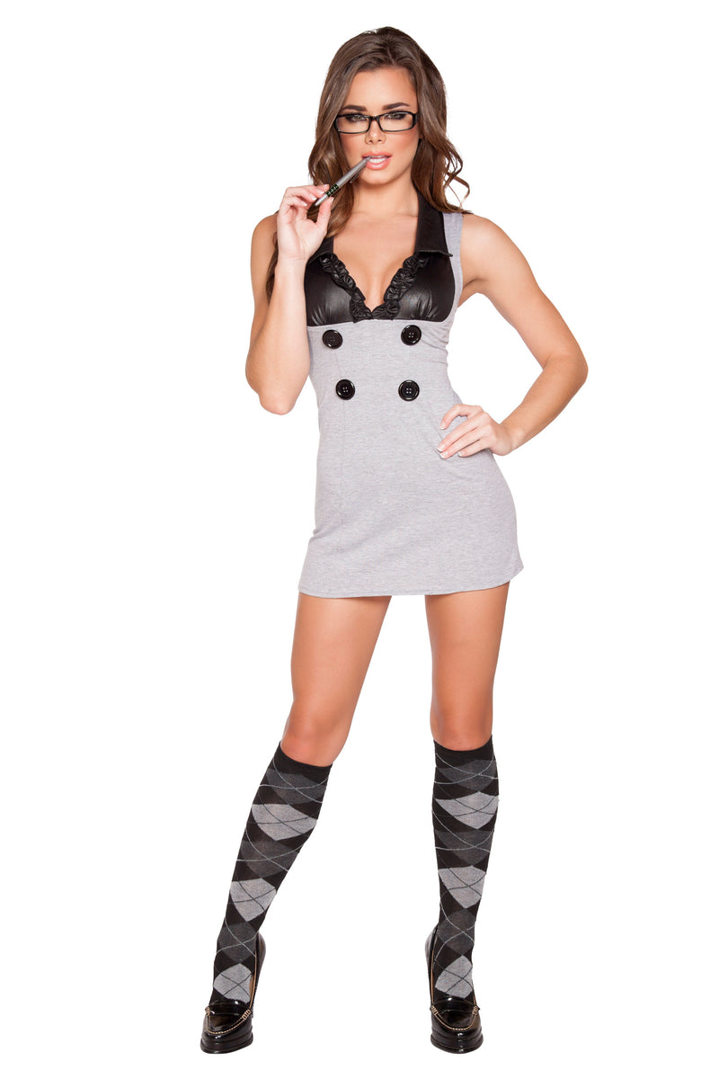 1-Piece-Sexy-Librarian-Button-Dress-Party-Costume-