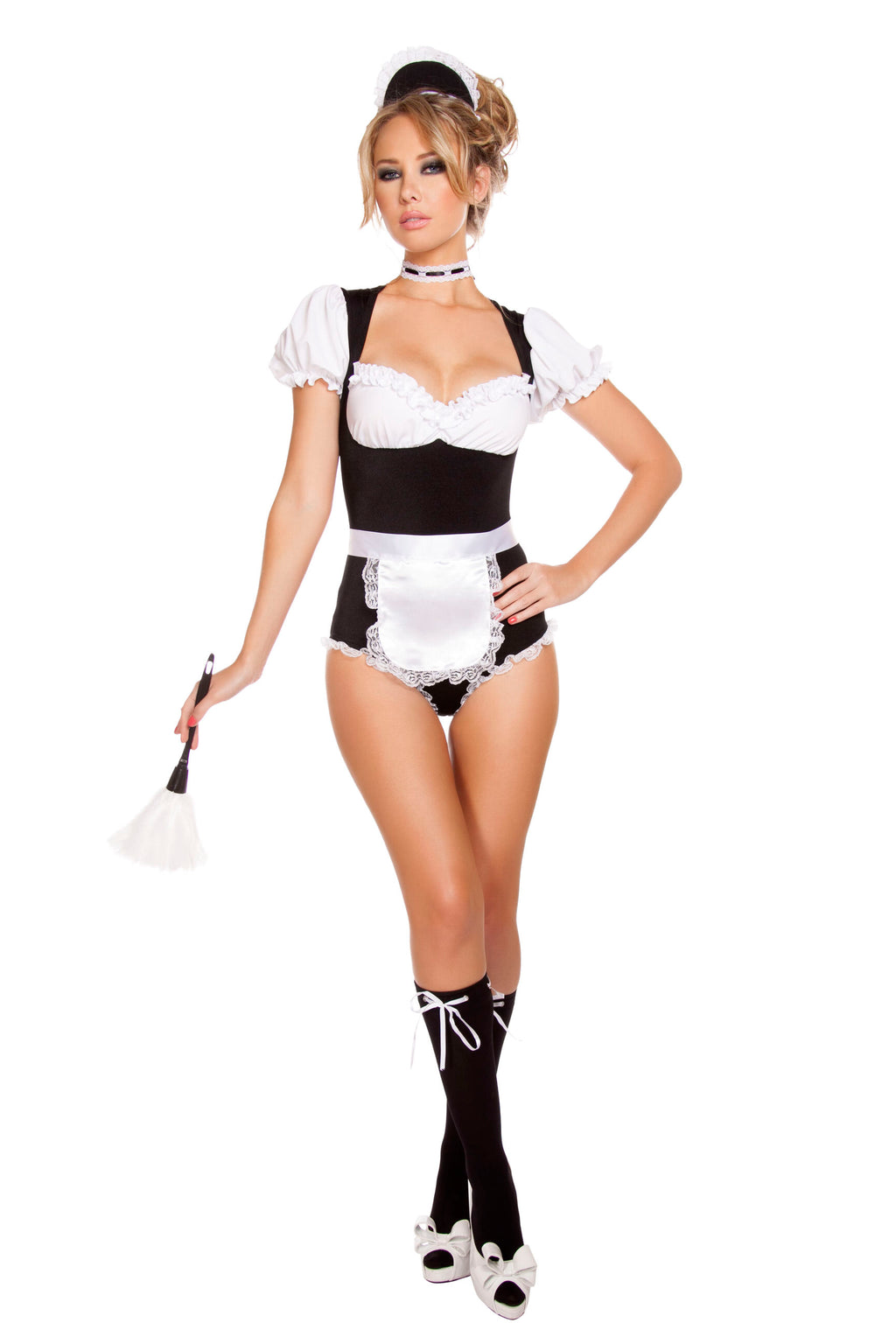 4-Piece-Naughty-French-Maid-Romper-w/-Accessories-Party-Costume