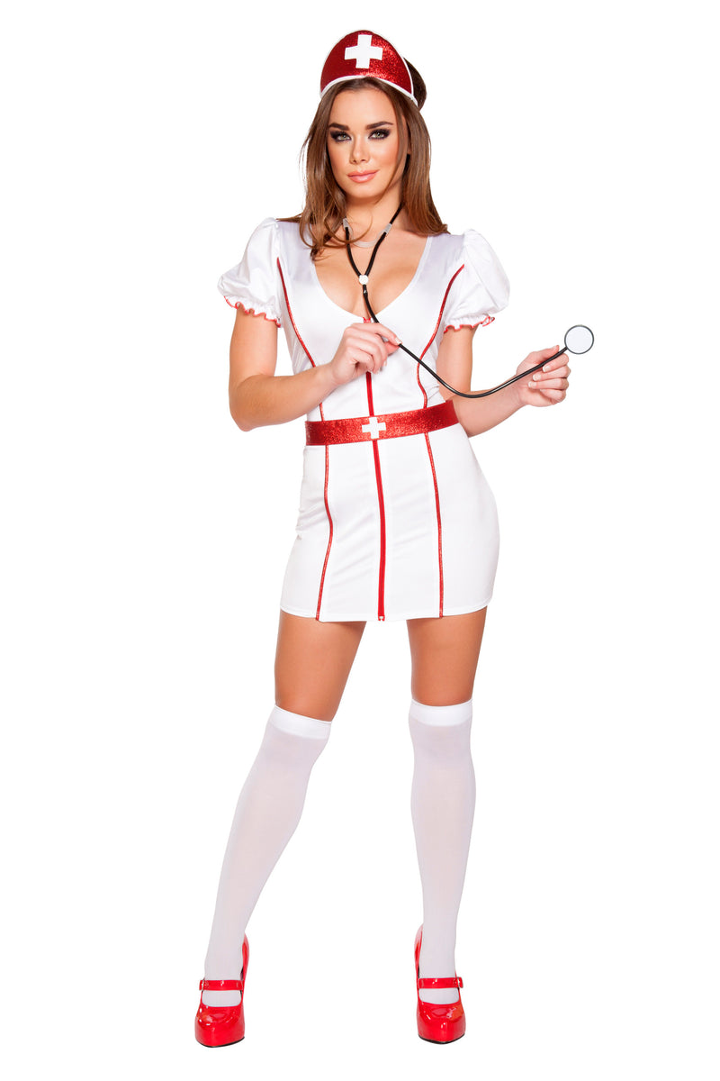 4-Piece-Naughty-Nurse-Zipper-White-Dress-w/-Accessories-Party-Costume