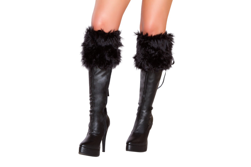Adult-Women's-Black-Fur-Boot-Cuffs-Accessory