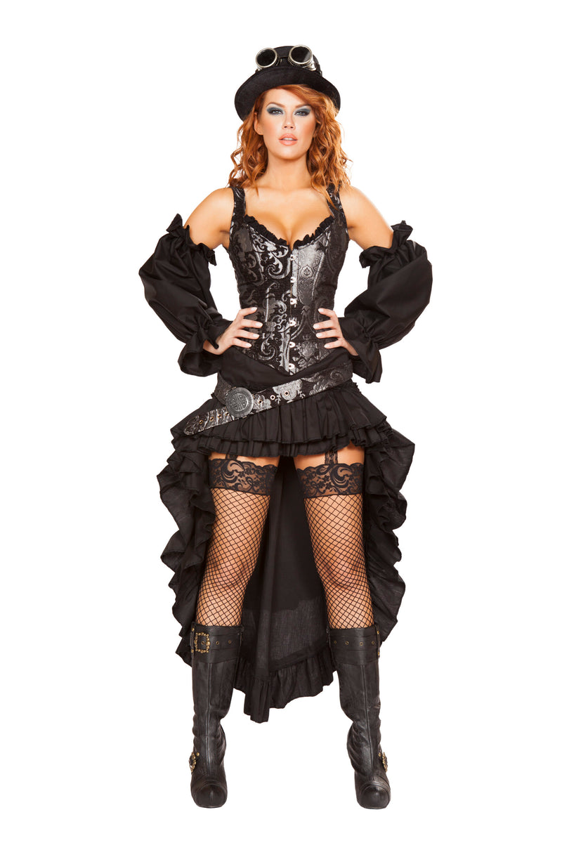 6-Piece-Steampunk-Sci-Fi-Babe-Corset-Top-&-Skirt-w/-Accessories-Party-Costume