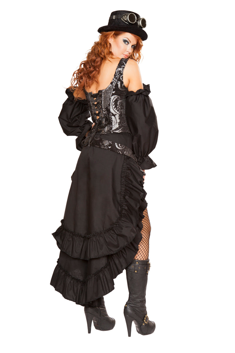 6 Piece Steampunk Sci Fi Babe Corset Top & Skirt w/ Accessories Party Costume