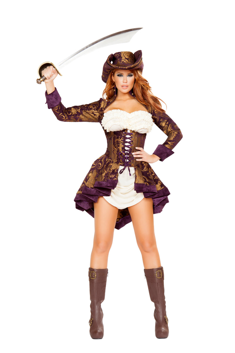 3-Piece-Pirate-Corset-Jacket-&-Dresss-w/-Hat-Party-Costume