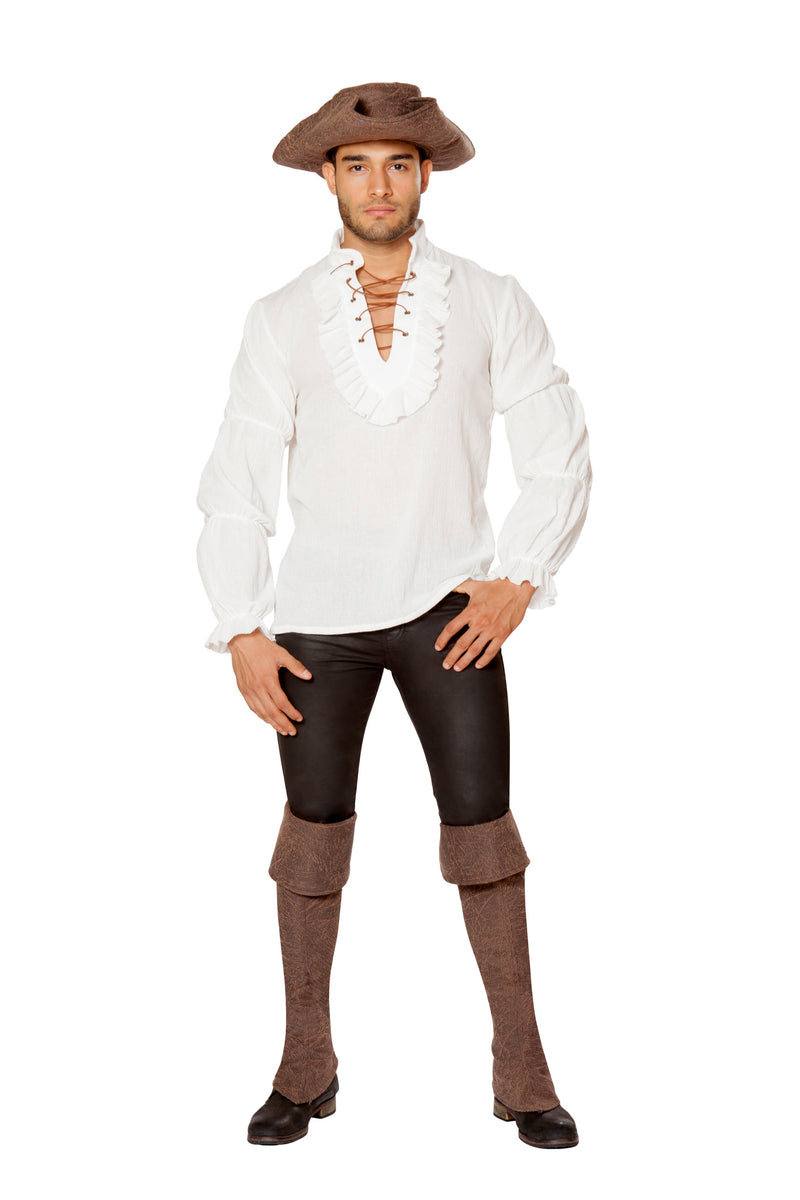 1-Piece-Pirate-Ruffled-White-Long-Sleeve-Shirt-Party-Costume