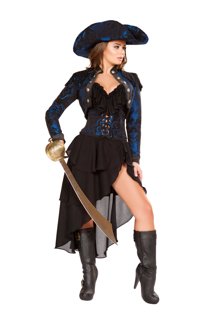 4-Piece-Pirate-Navy-Jacket-Cincher-Top-&-High-Low-Skirt-Party-Costume