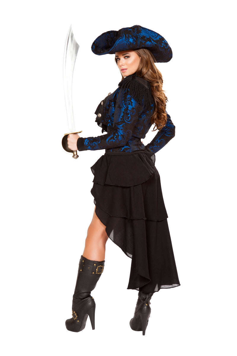4 Piece Pirate Navy Jacket Cincher Top & High Low Skirt Party Costume
