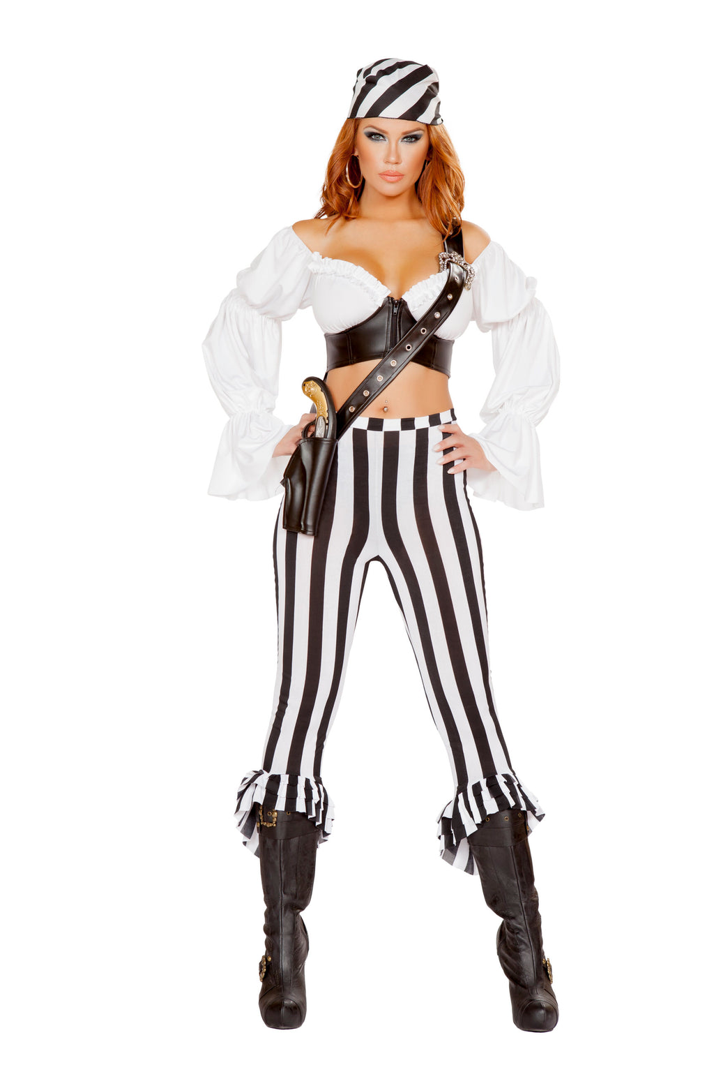 4-Piece-Pirate-Crop-Top-&-Striped-Pants-w/-Accessories-Party-Costume