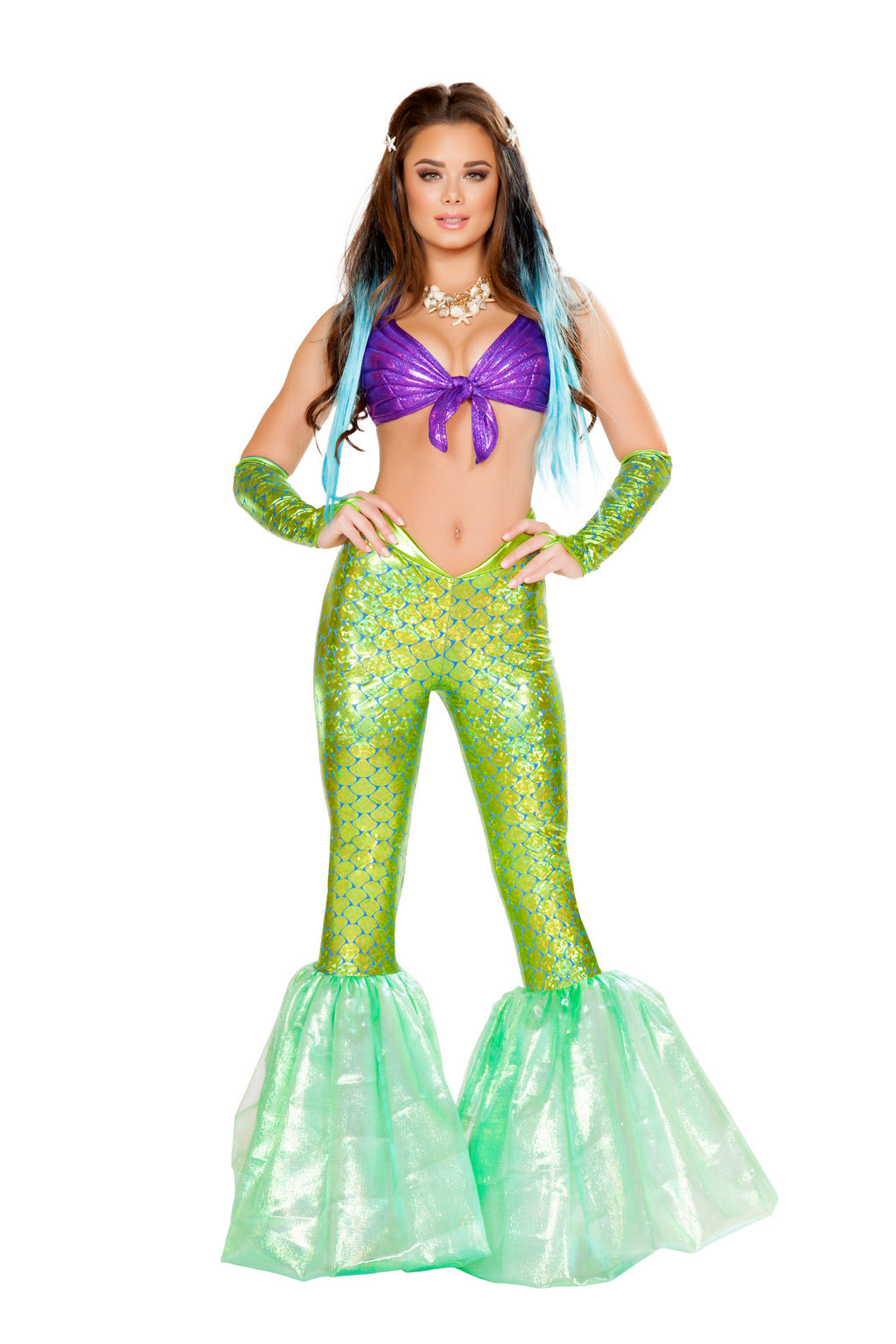 2-Piece-Mermaid-Sea-Siren-Purple-Top-&-Green-Bell-Bottoms-Party-Costume