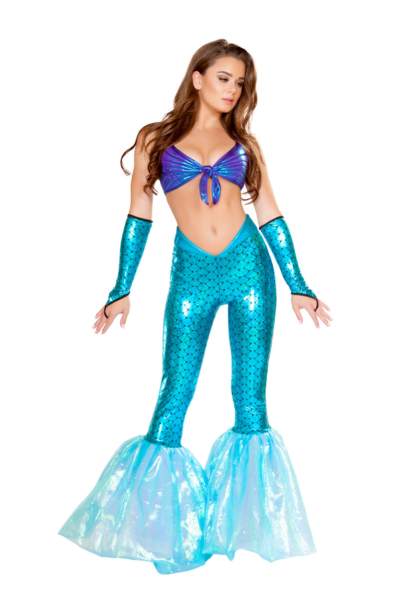 2-Piece-Mermaid-Sea-Siren-Dark-Blue-Top-&-Light-Blue-Bell-Bottoms-Party-Costume