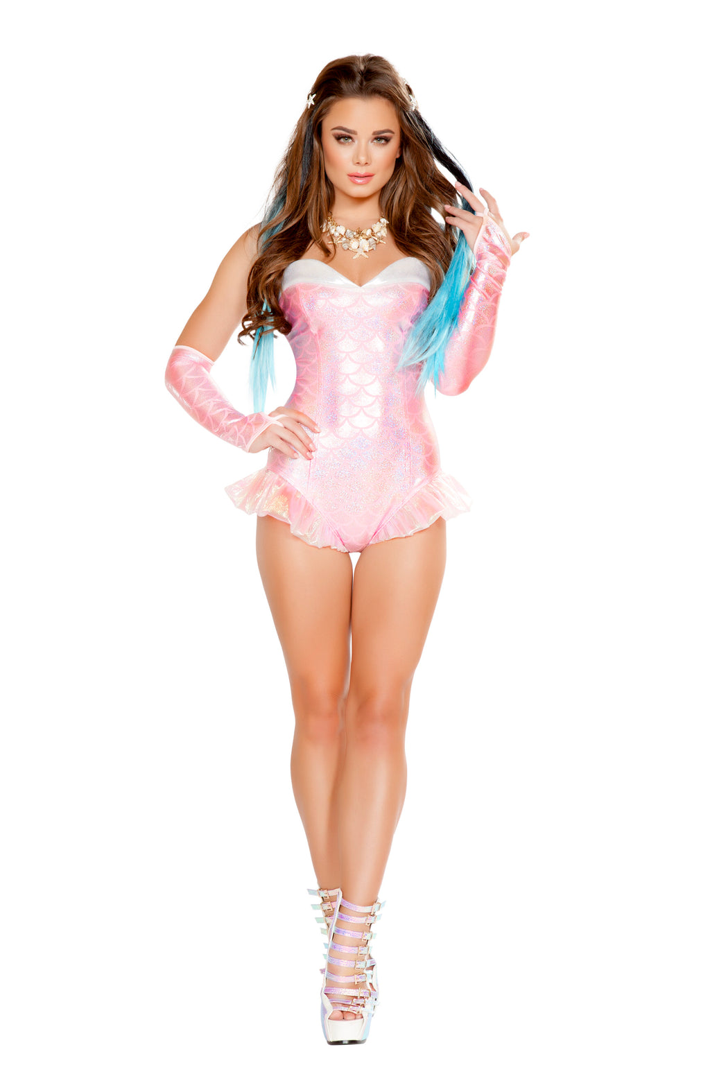 1-Piece-Mermaid-Sea-Siren-Pink-Iridescent-Romper-Party-Costume