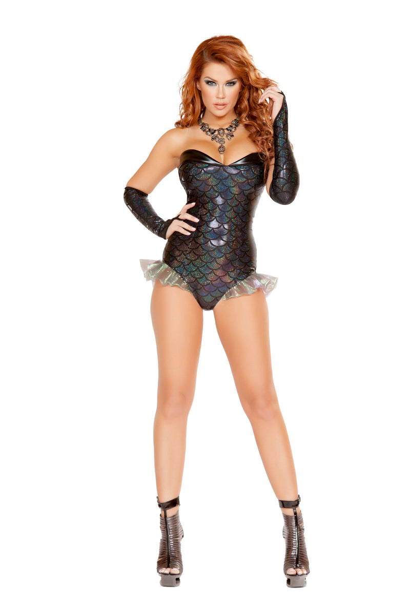 1-Piece-Mermaid-Sea-Siren-Black-Iridescent-Romper-Party-Costume