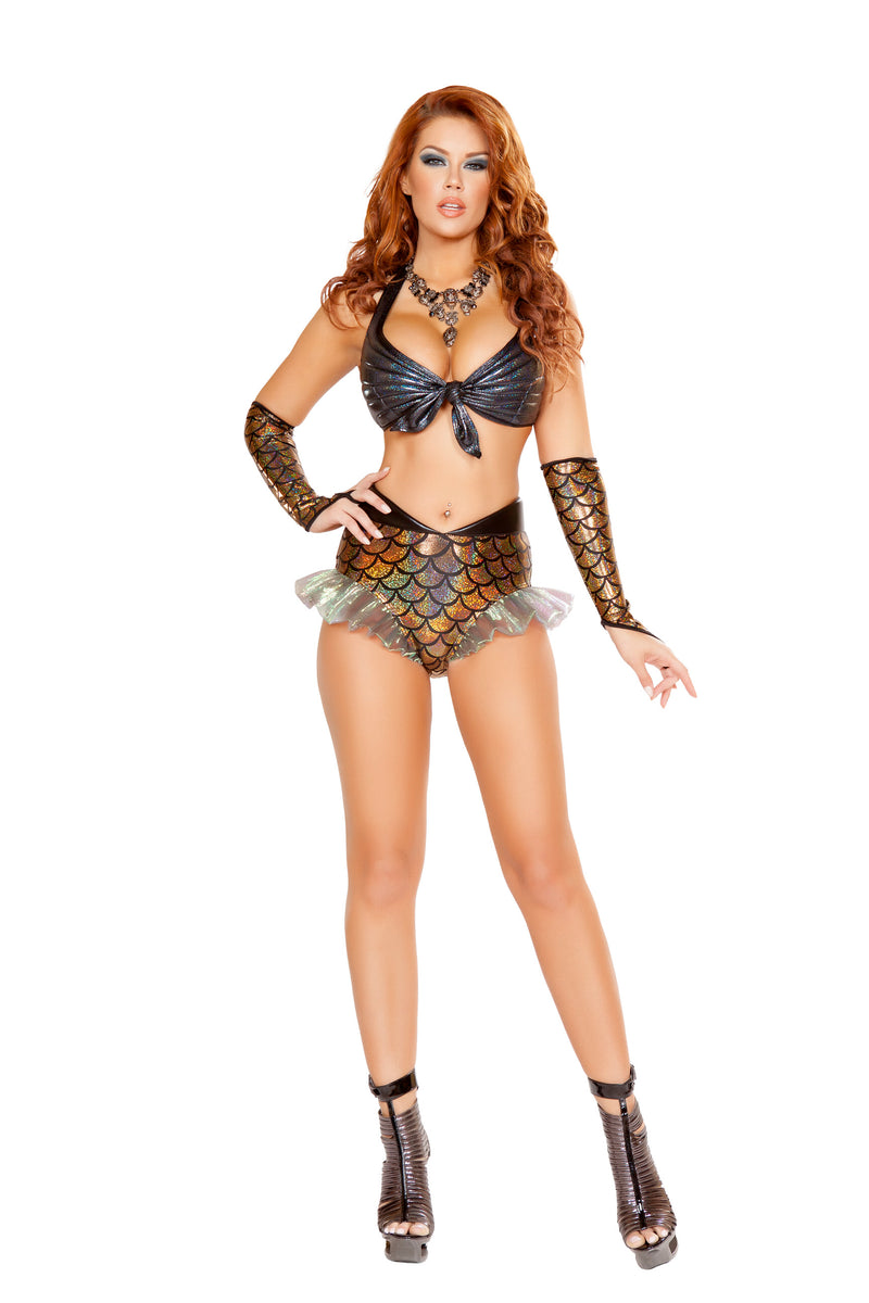 2-Piece-Mermaid-Sea-Siren-Iridescent-Gray-Top-&-Gold-Shorts-Party-Costume