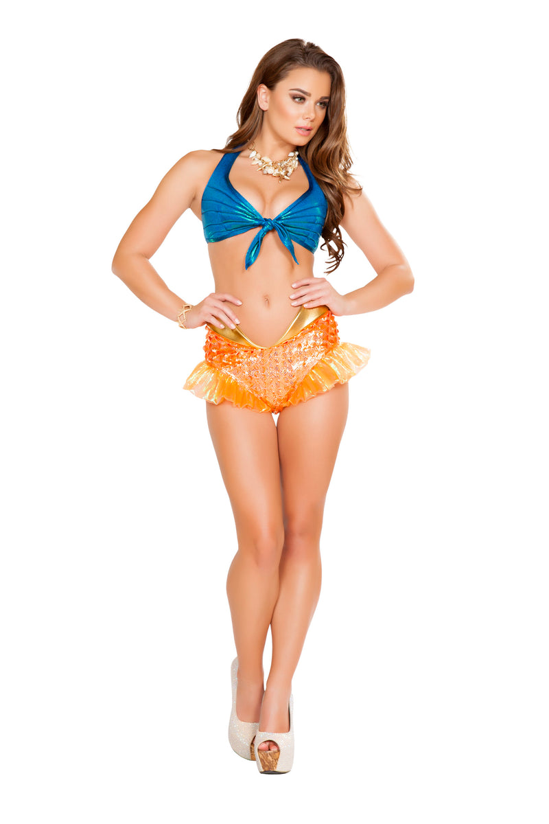 2-Piece-Mermaid-Sea-Siren-Iridescent-Blue-Top-&-Orange-Shorts-Party-Costume