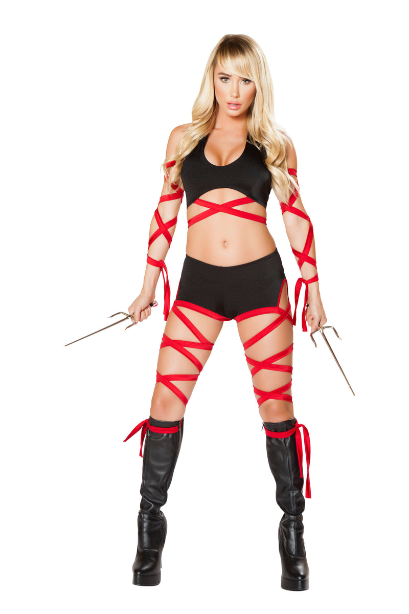 2-Piece-Assassin-Ninja-Hit-Woman-Cutout-Romper-w/-Straps-Party-Costume