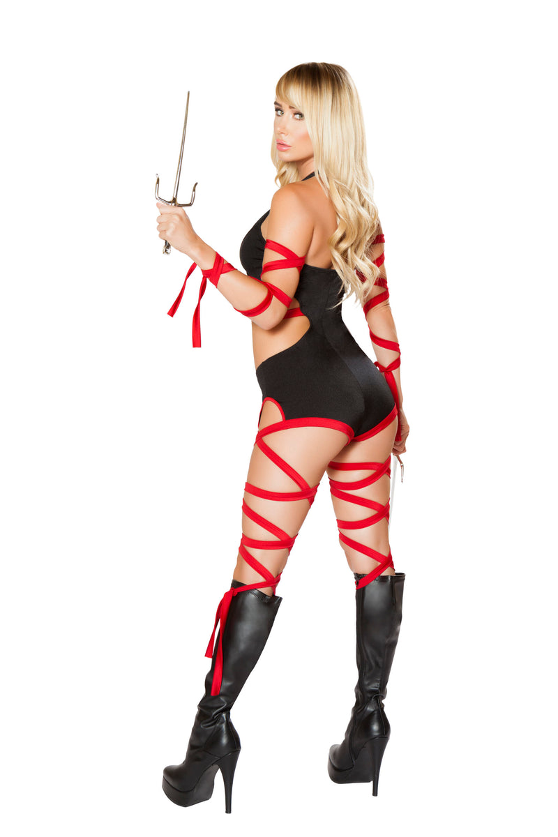 2 Piece Assassin Ninja Hit Woman Cutout Romper w/ Straps Party Costume - Fest Threads