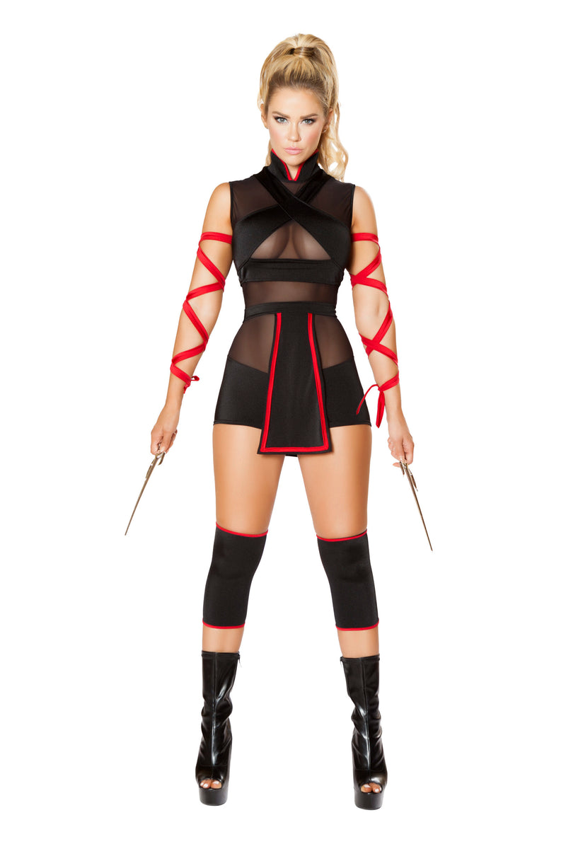 3-Piece-Assassin-Ninja-Hit-Woman-Romper-w/-Arm-Straps-Party-Costume