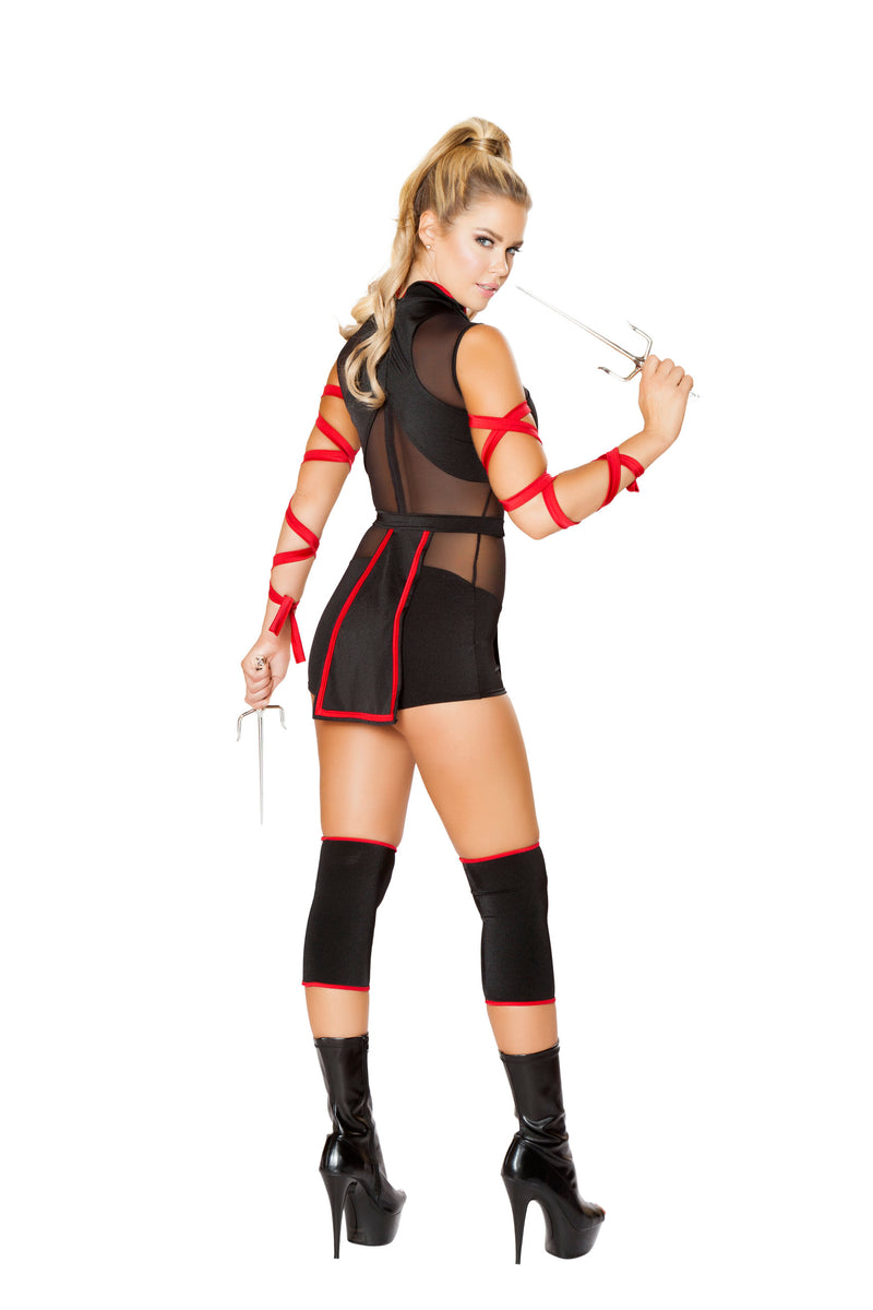 3 Piece Assassin Ninja Hit Woman Romper w/ Arm Straps Party Costume - Fest Threads