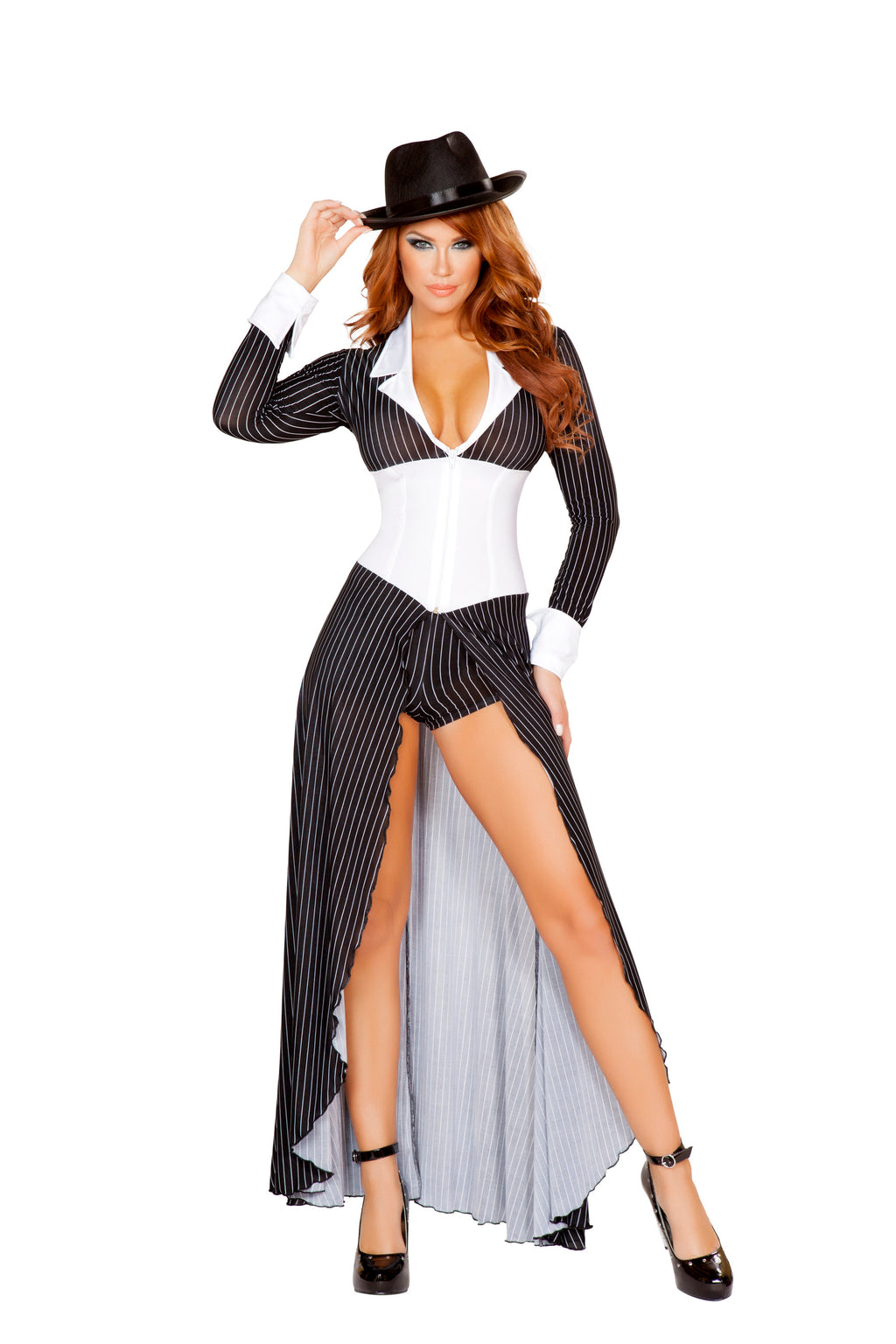 2-Piece-Gangster-Mob-Wife-Pinstripe-Long-Coat-&-Shorts-Party-Costume