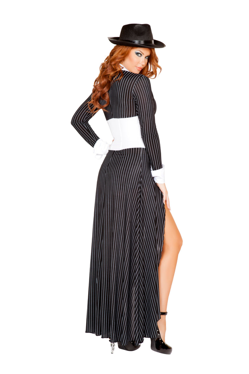 2 Piece Gangster Mob Wife Pinstripe Long Coat & Shorts Party Costume - Fest Threads