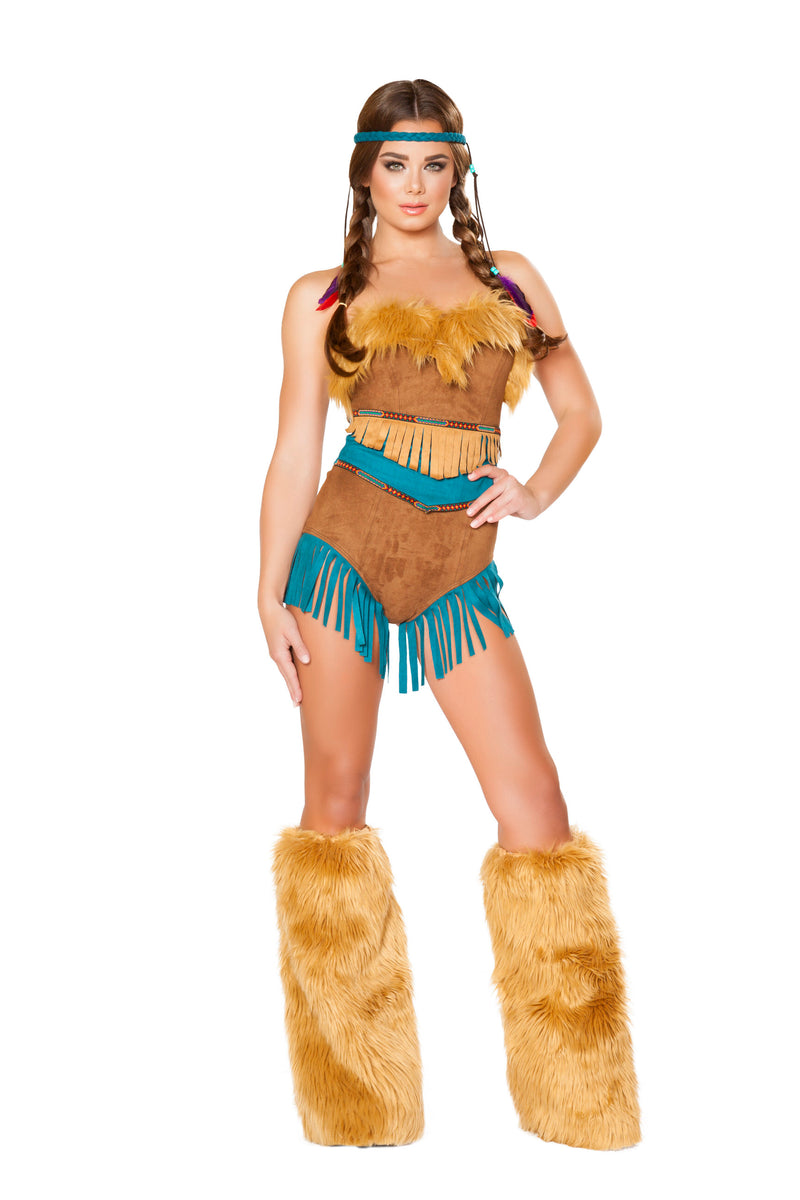 2-Piece-Native-American-Indian-Princess-Tan-Romper-&-Cincher-Party-Costume-