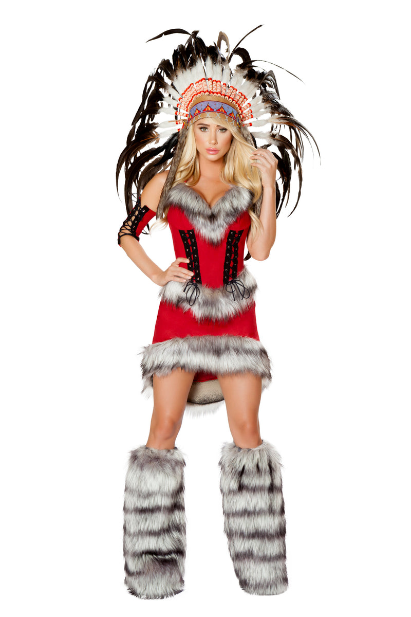3-Piece-Native-American-Indian-Princess-Dress-w/-Headband-Party-Costume-