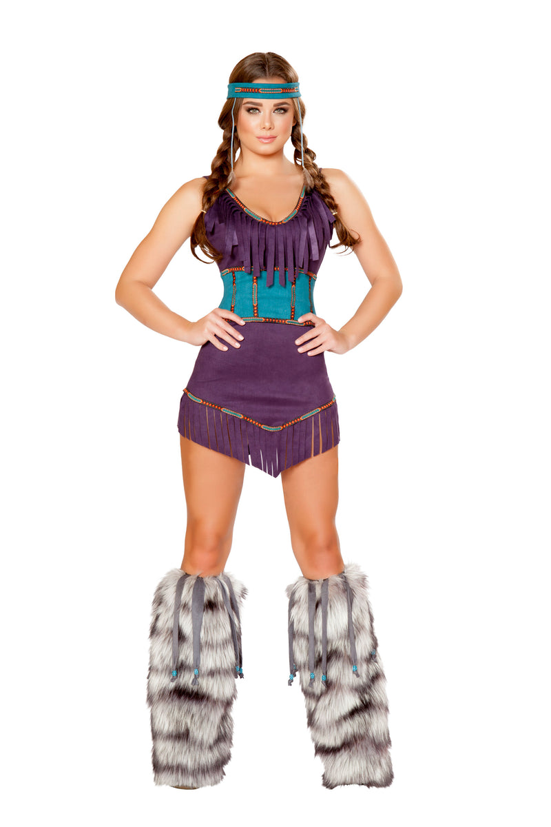 3-Piece-Native-American-Indian-Princess-Purple-Dress-&-Cincher-Party-Costume-