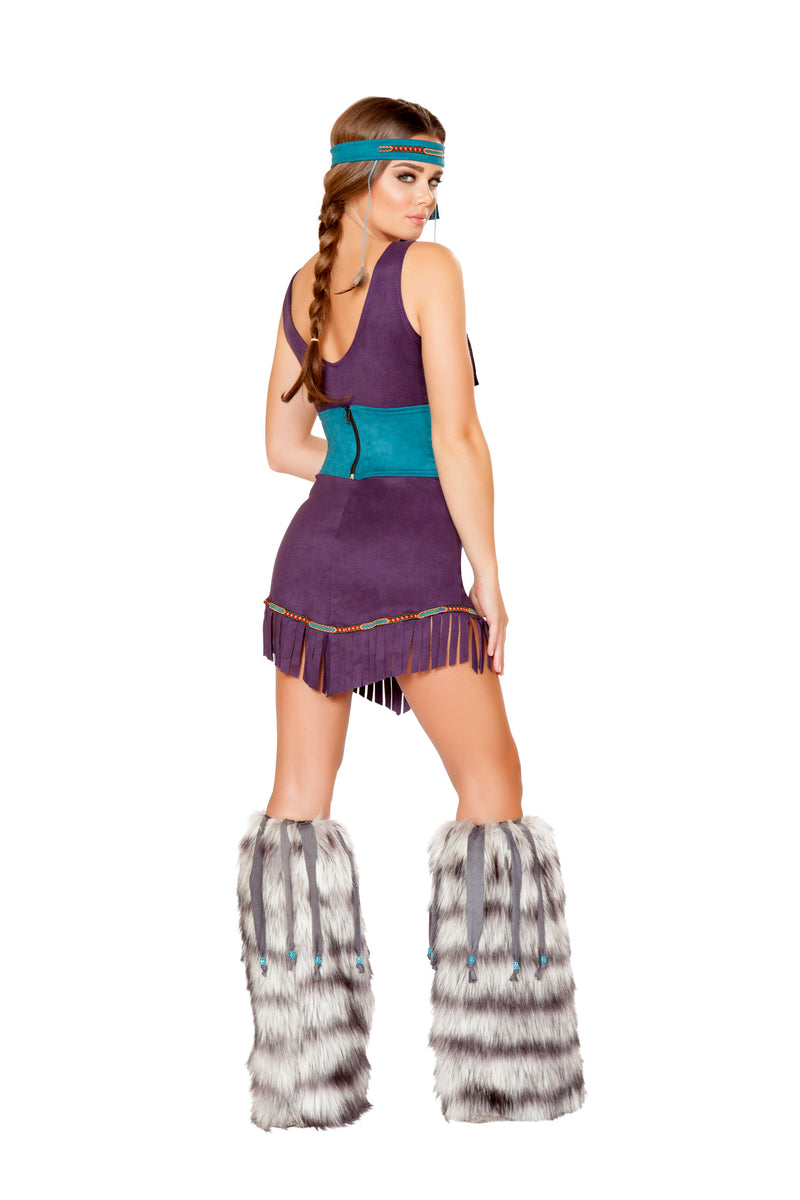 3 Piece Native American Indian Princess Purple Dress & Cincher Party Costume - Fest Threads