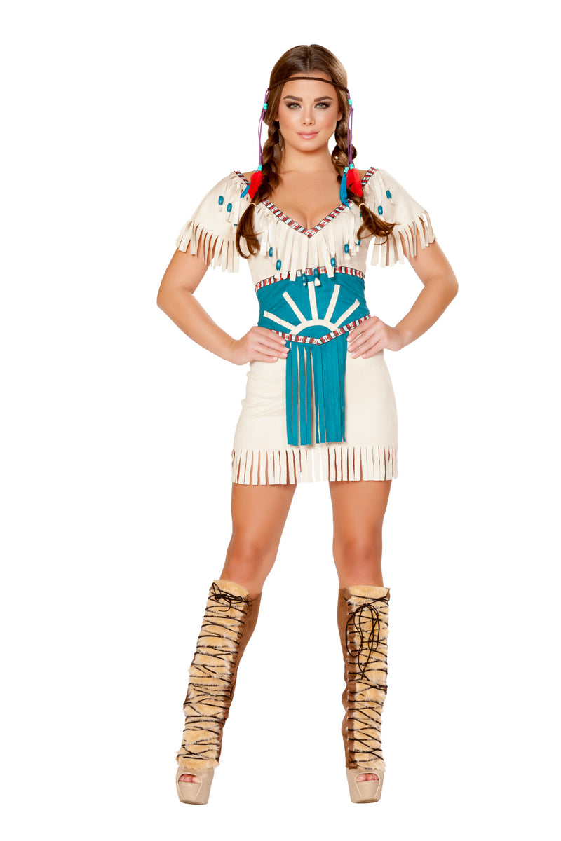 2-Piece-Native-American-Indian-Princess-White-Dress-&-Cincher-Party-Costume-