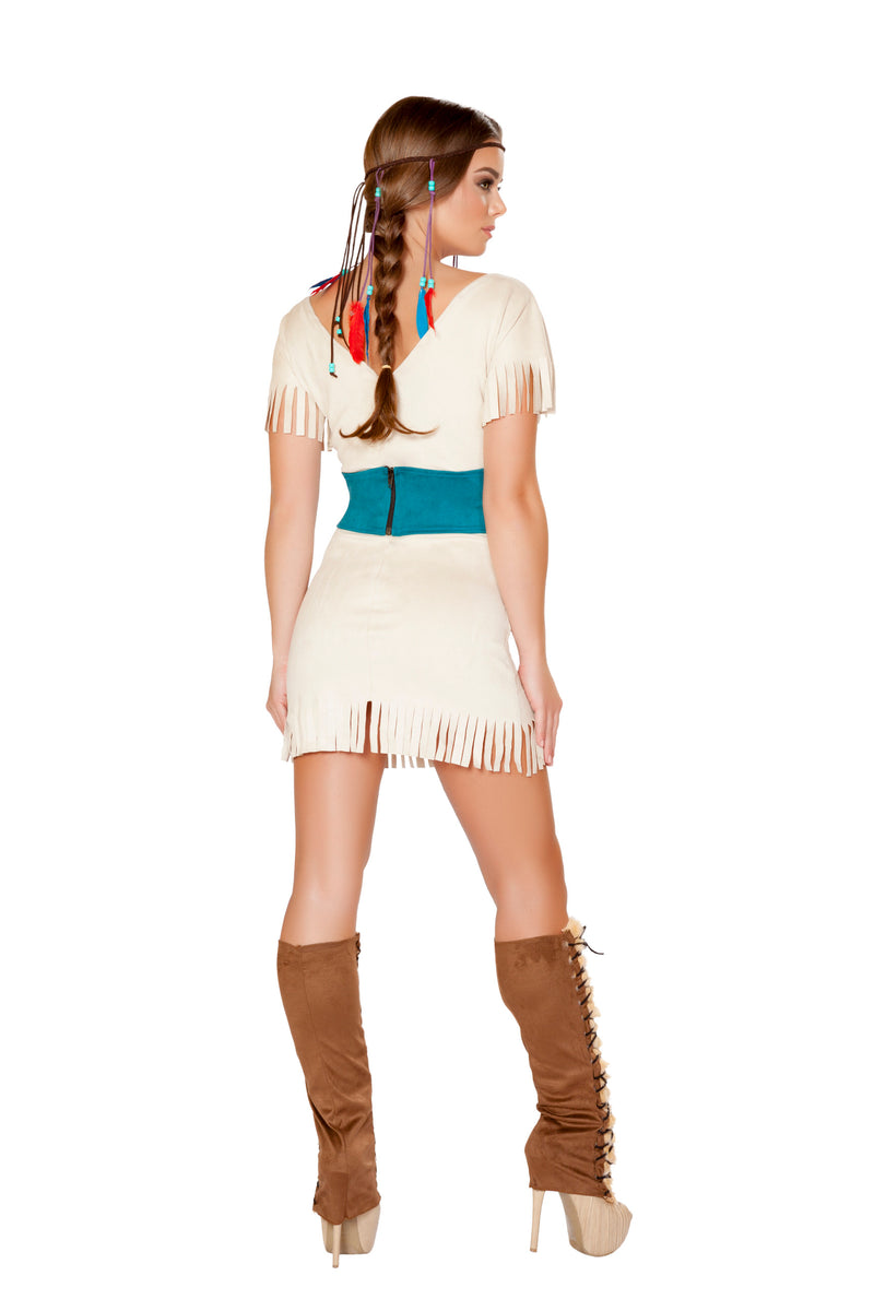 2 Piece Native American Indian Princess White Dress & Cincher Party Costume