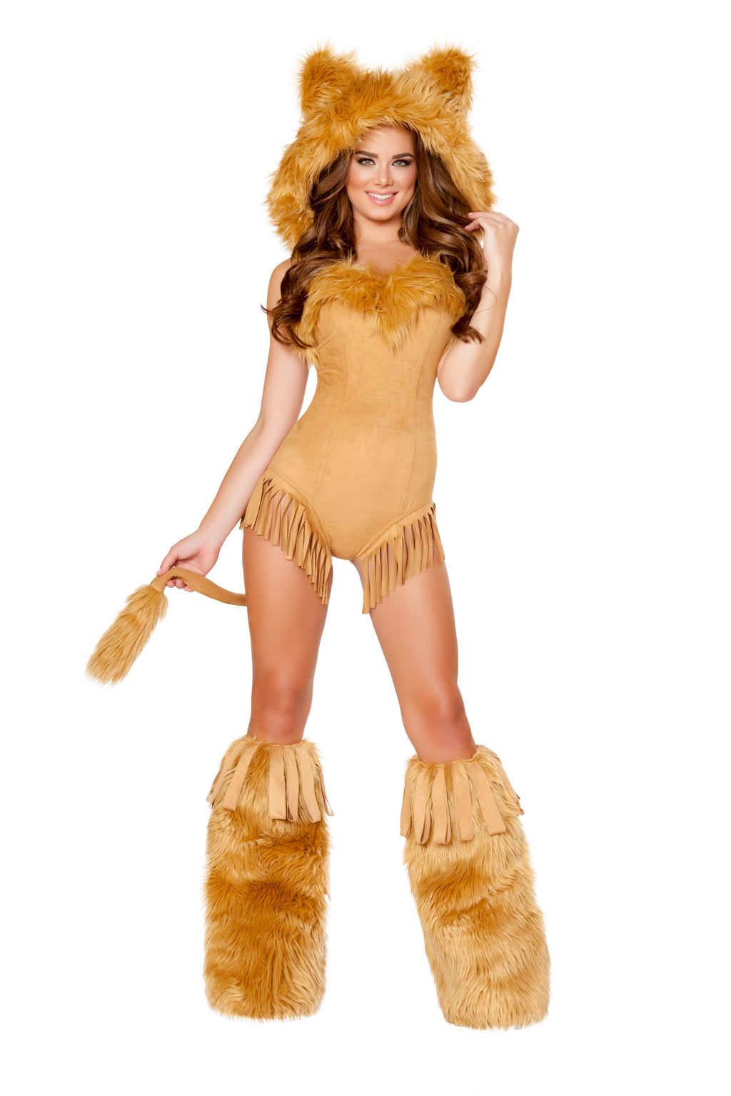 1-Piece-Lion-Hooded-Fur-Romper-w/-Attached-Tail-Party-Costume