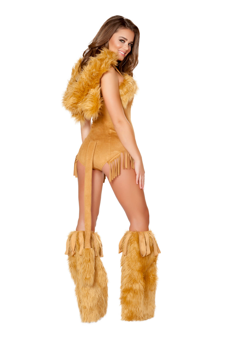 1 Piece Lion Hooded Fur Romper w/ Attached Tail Party Costume - Fest Threads