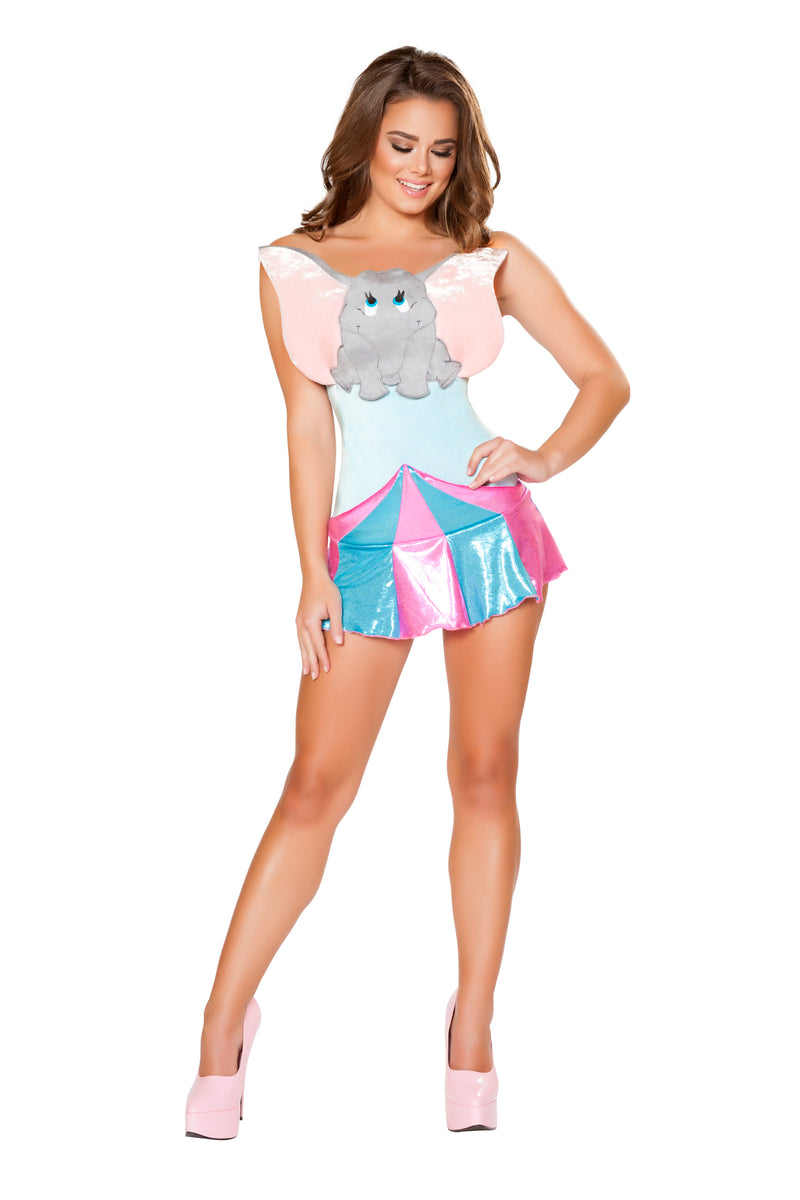 2-Piece-Circus-Elephant-Animal-Mini-Dress-Party-Costume-