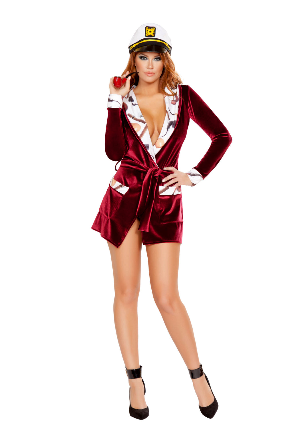 3-Piece-Miss-Hugh-Hefner-Robe-w/-Sailor-Hat-&-Pipe-Party-Costume-