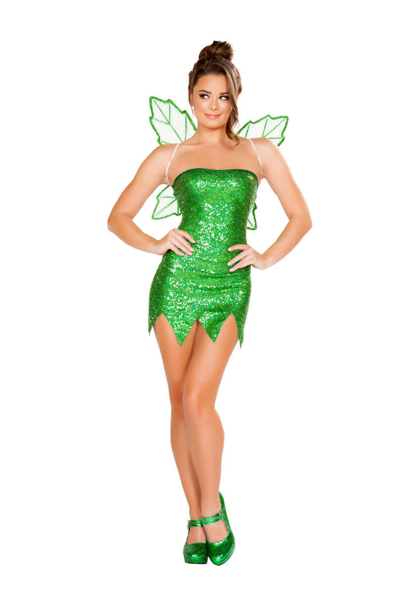 2-Piece-Green-Fairy-Strapless-Mini-Dress-w/-Wings-Party-Costume-