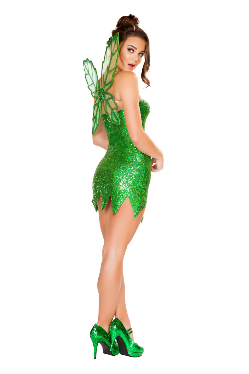 2 Piece Green Fairy Strapless Mini Dress w/ Wings Party Costume