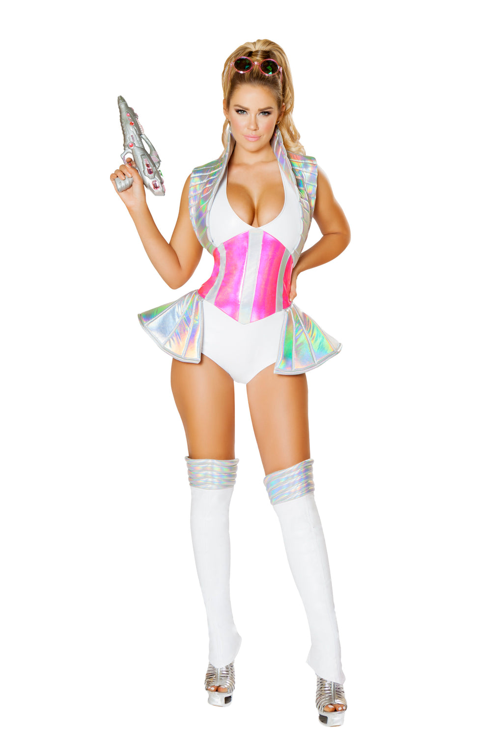 1-Piece-Astronaut-Space-Explorer-White-&-Pink-Romper-Party-Costume-