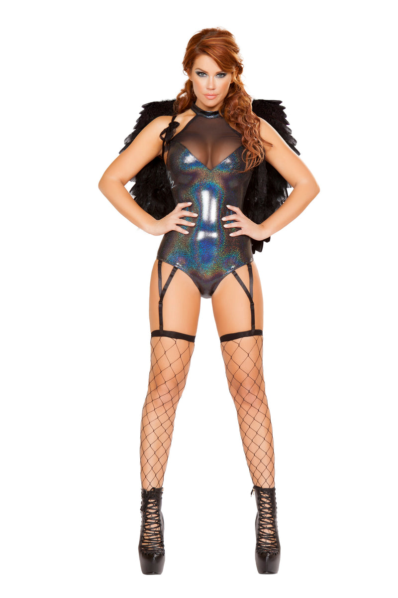 1-Piece-Rave-Babe-Black-Sheer-Iridescent-Shiny-Romper-Party-Costume-