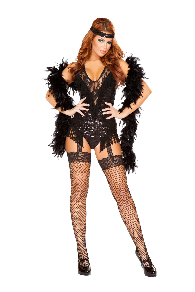 2-Piece-Flapper-Roaring-20s-Sequin-Romper-w/-Headband-Party-Costume-