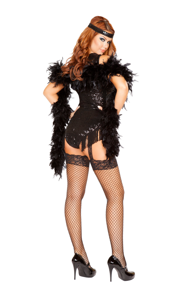 2 Piece Flapper Roaring 20s Sequin Romper w/ Headband Party Costume - Fest Threads