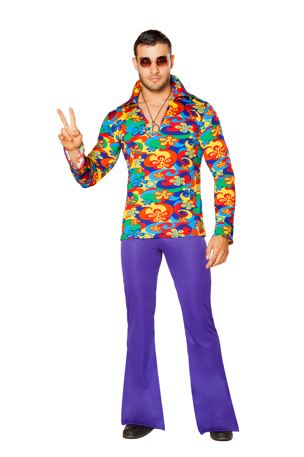 2-Piece-Hippie-Flower-Dude-Groovy-Top-&-Bell-Bottoms-Party-Costume