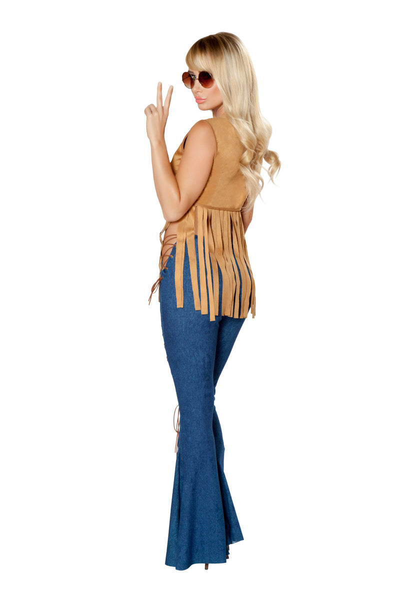 2 Piece Hippie Groovy Halter Top & Bell Bottoms Party Costume - Fest Threads