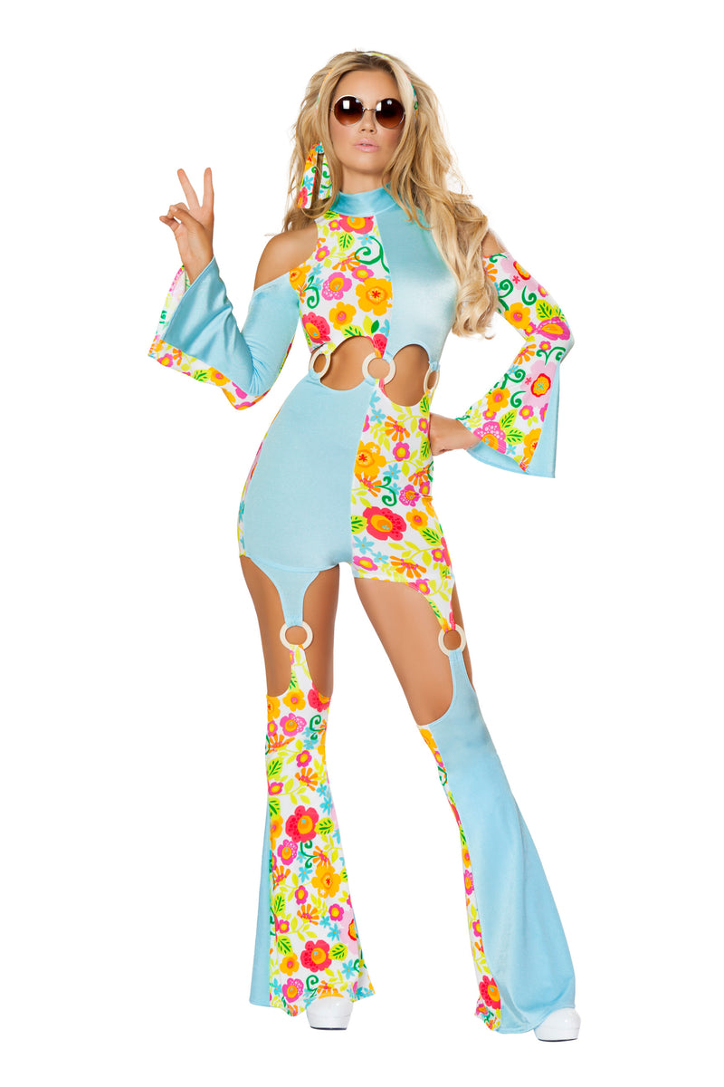 2-Piece-Hippie-Flower-Child-Groovy-Jumpsuit-w/-Headband-Party-Costume