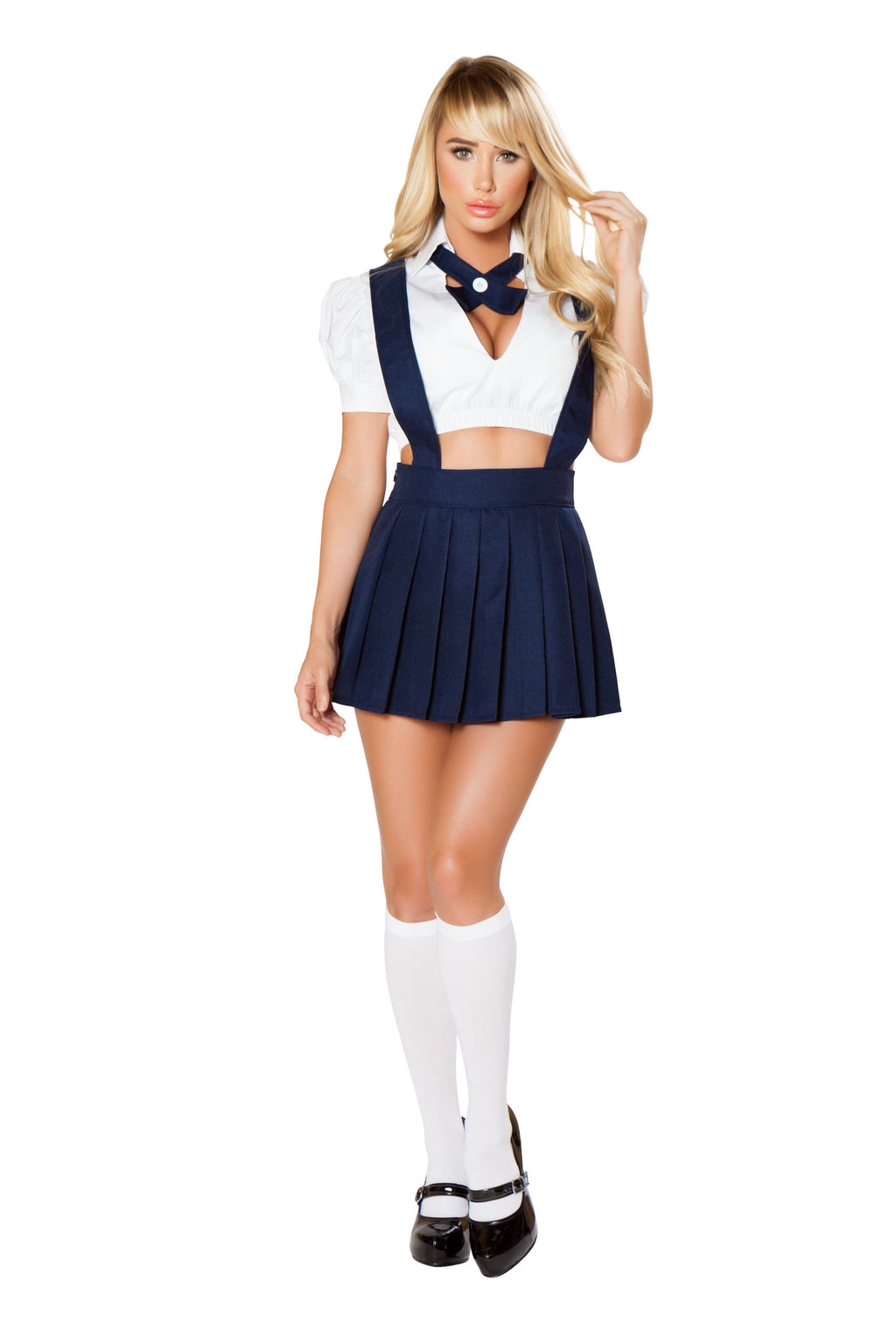 3-Piece-School-Girl-White-Top-&-Navy-Suspender-Pleated-Skirt-Party-Costume