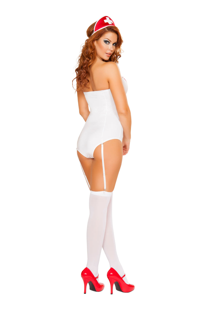 3 Piece Naughty Nurse Cross Strapless Romper w/ Accessories Party Costume