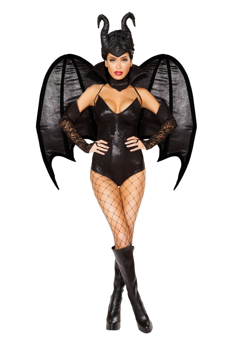 4-PC-Evil-Wicked-Fairy-Black-Romper-&-Lace-Sleeves-w/-Collar-Party-Costume