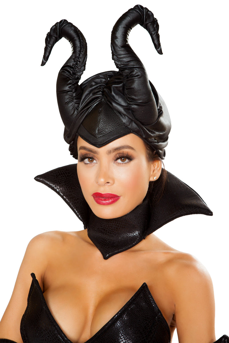 Adult-Women's-Evil-Wicked-Fairy-Black-Horn-Headpiece-Party-Costume-Accessory