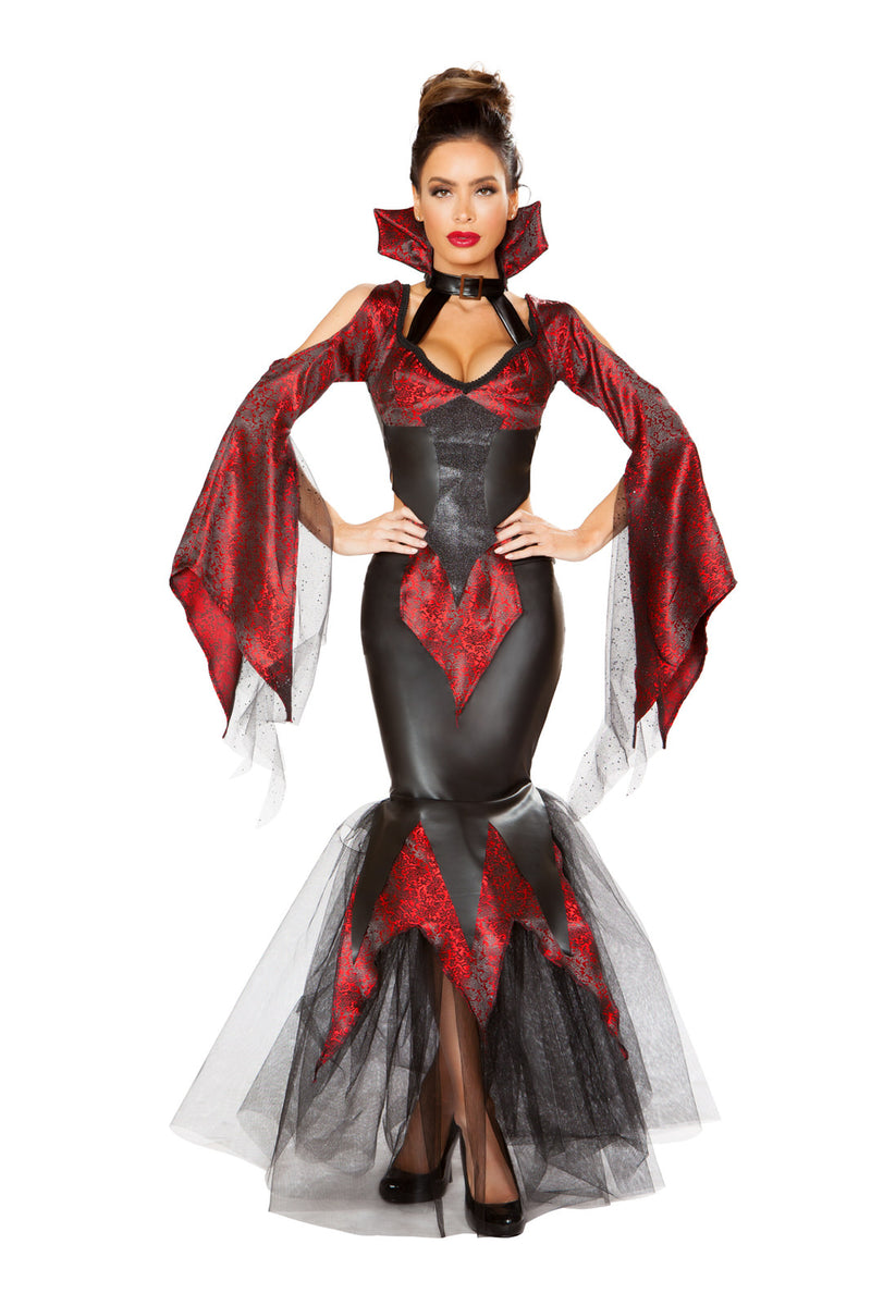 2-PC-Vampire-Woman-Draped-Sleeves-Top-&-Mermaid-Skirt-Party-Costume-