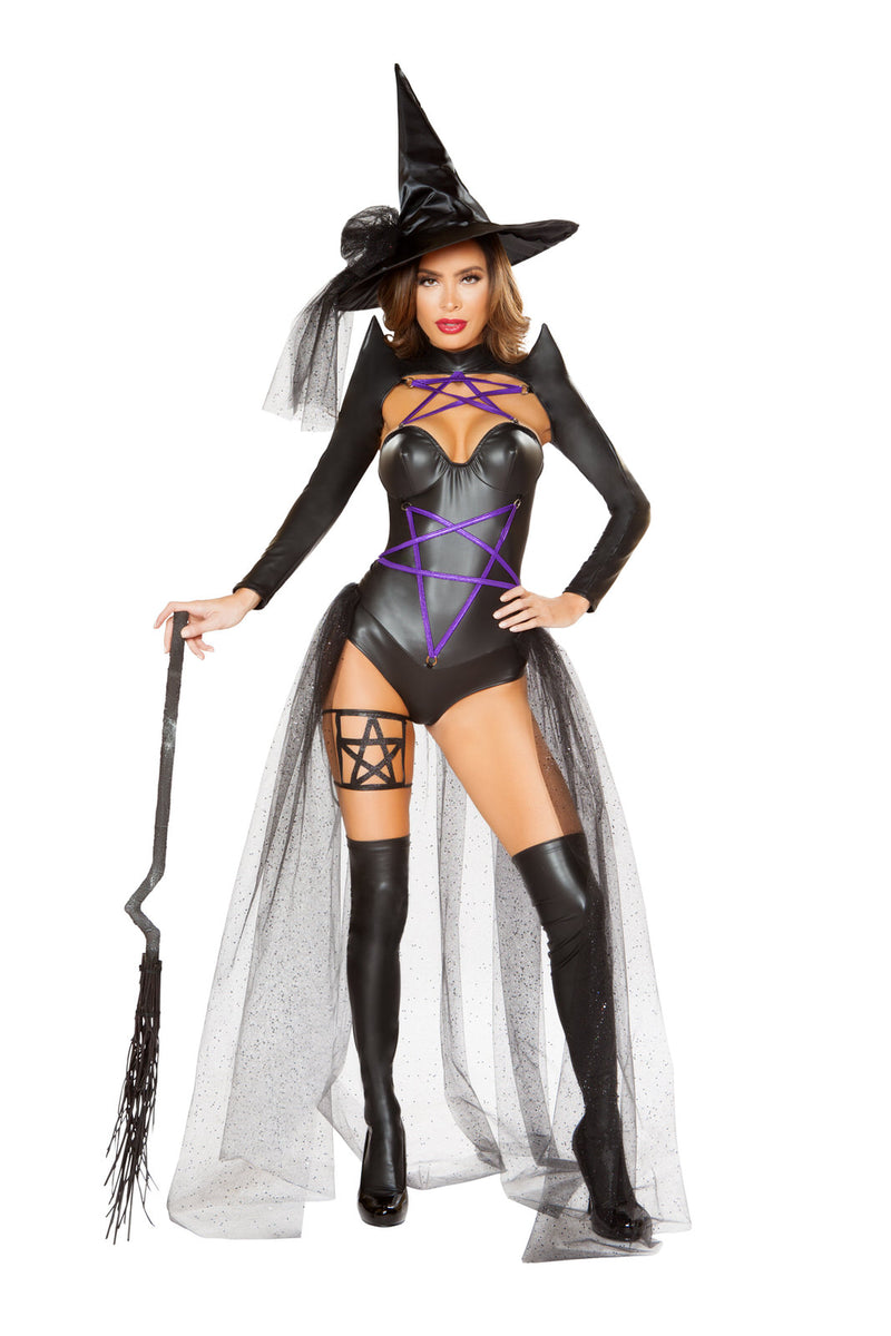 2-PC-Witch-Sorceress-Black-&-Purple-Star-Pentagram-Romper-&-Hat-Party-Costume