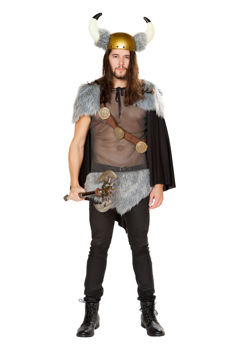 3-PC-Viking-Warrior-Mesh-Fur-Shirt-&-Fur-Cape-w/-Holster-Party-Costume-