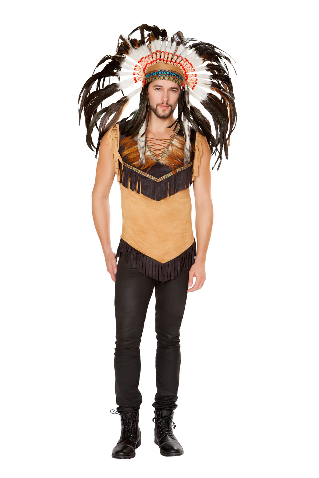 1-PC-Native-American-Chief-Tan-Fringe-Feather-Shirt-Party-Costume